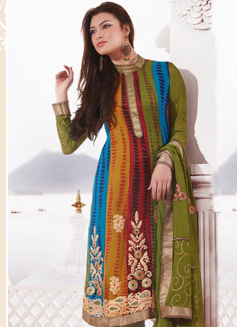 Multicolored Printed Georgette Churidar Suit