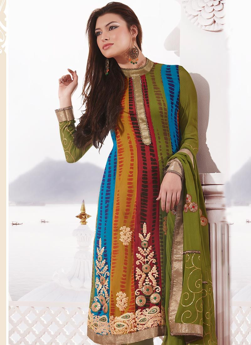 Multicolored Printed Georgette Churidar Suit