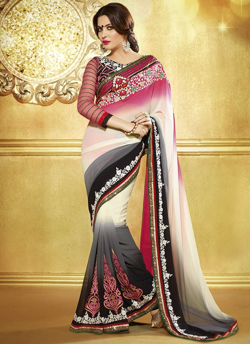 Multicolored Resham And Faux Georgette Saree