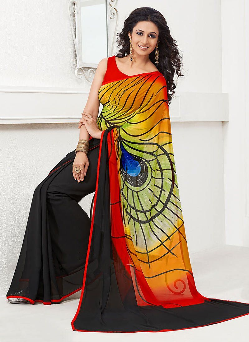 Multicolored Soft Georgette Saree