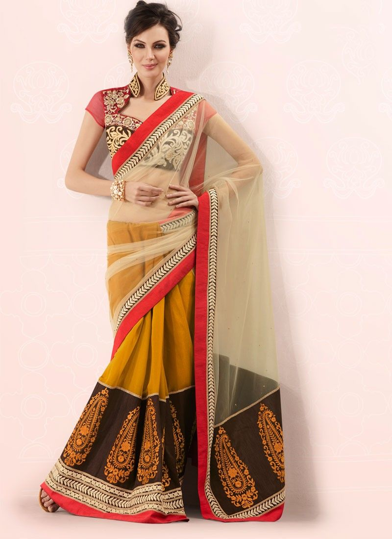 Mustard And Beige Half And Half Saree