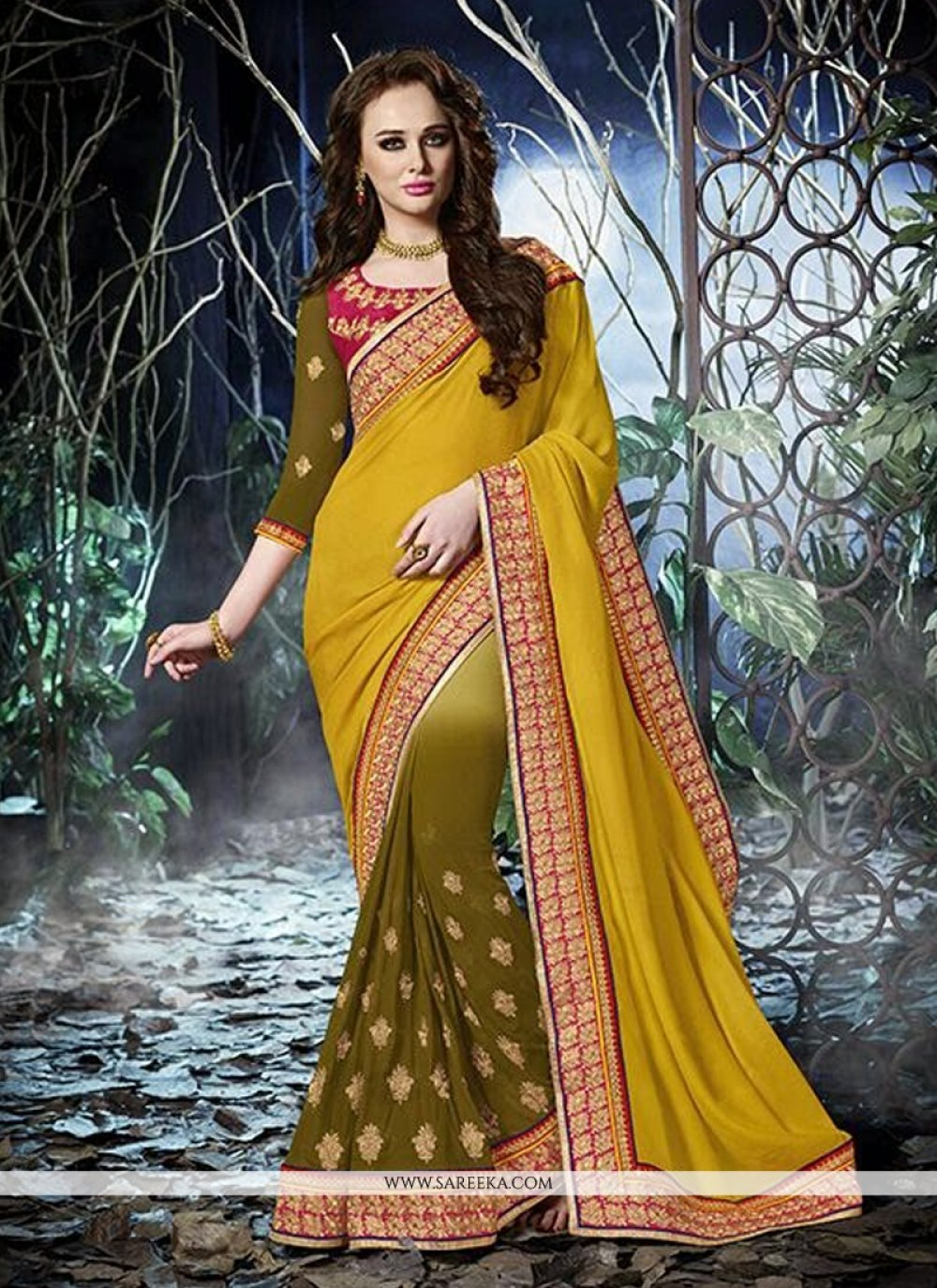 Mustard And Green Georgette Designer Saree