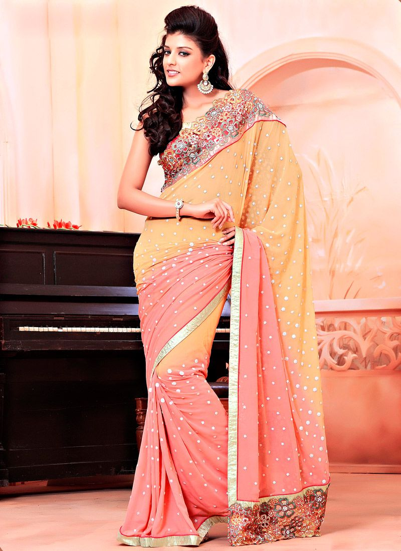 Mustard and Peach Faux Georgette Saree