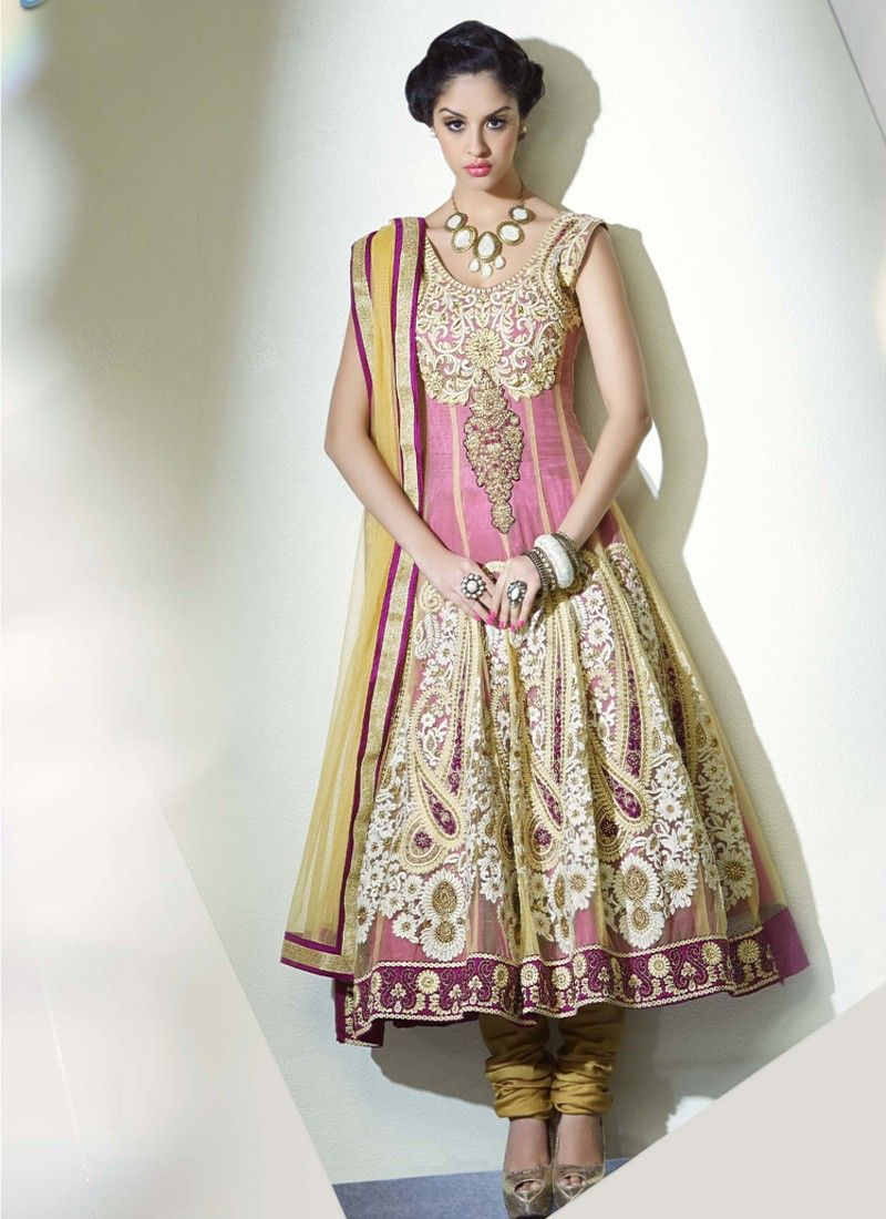 Mustard And Pink Resham Work Party Wear Net Anarkali Suit