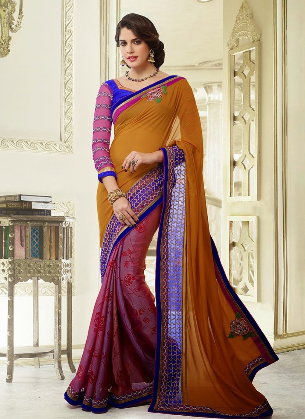Mustard And Violet Patch Border Printed Saree