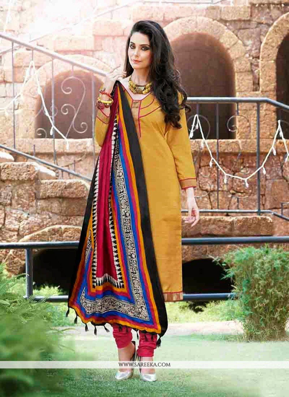 Mustard Bhagalpuri Silk Churidar Suit