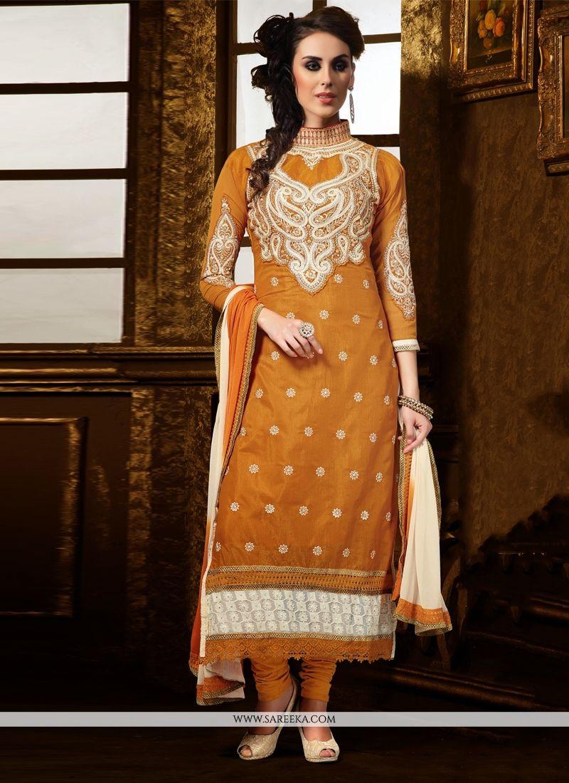 Mustard Chanderi Cotton Silk Churidar Suit