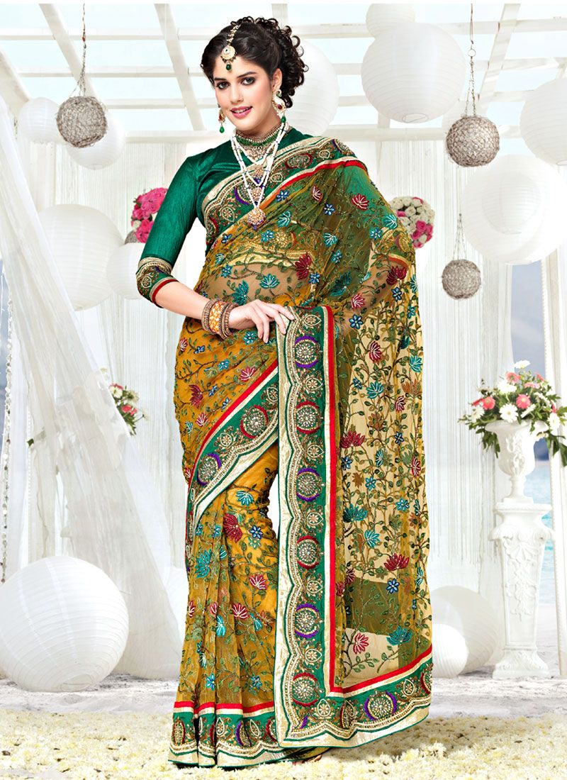 Mustard Net Resham Work Saree