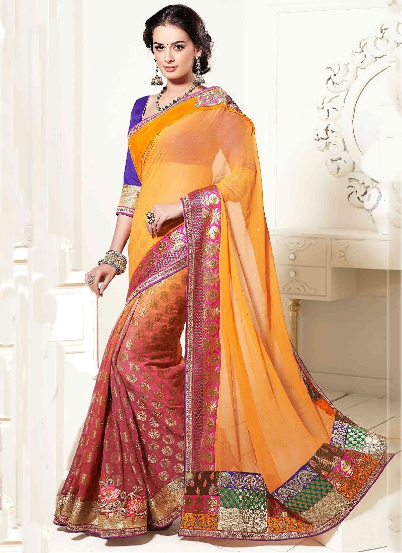 Mustard Patch Border Faux Georgette Designer Saree