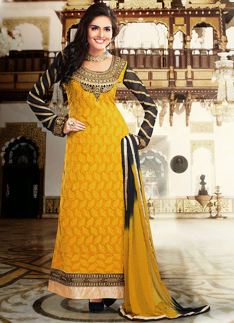 Mustard Patch Border Work Georgette Anarkali Suit