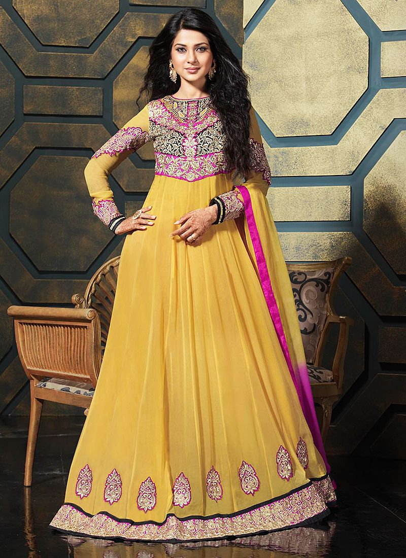 Mustard Resham Work Faux Georgette Anarkali Suit
