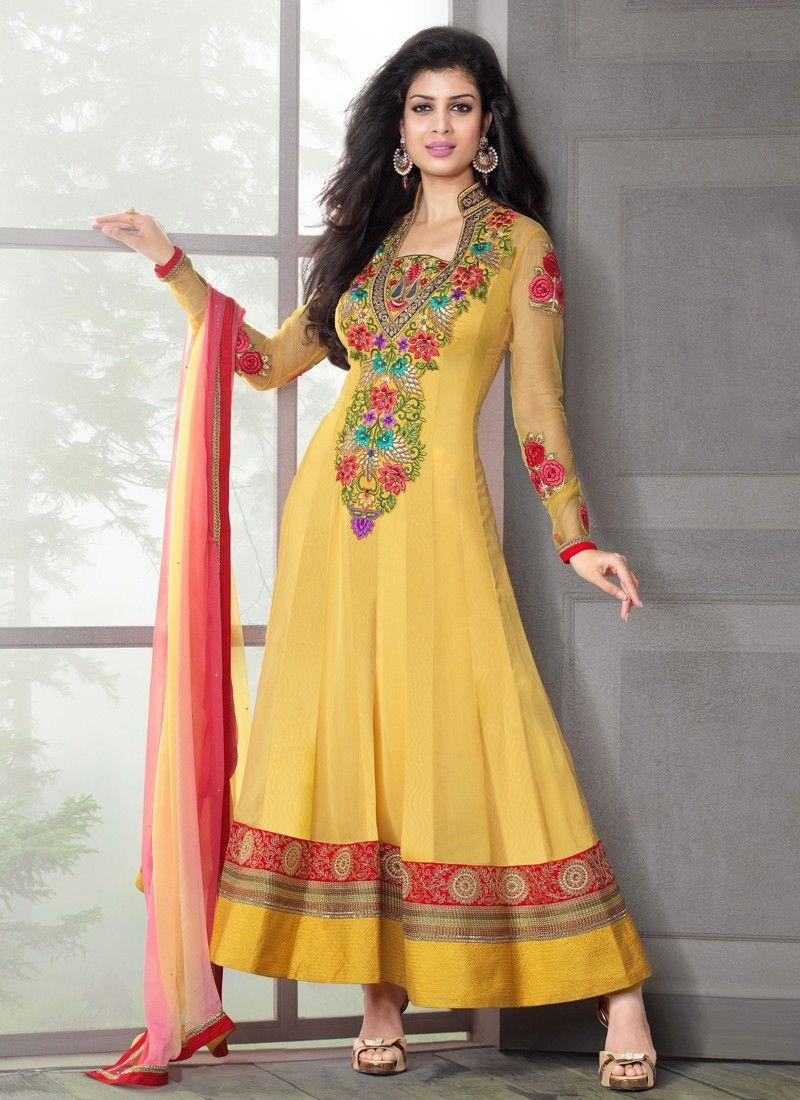 1e98760580 Mustard Resham Work Jacquard Anarkali Suit -