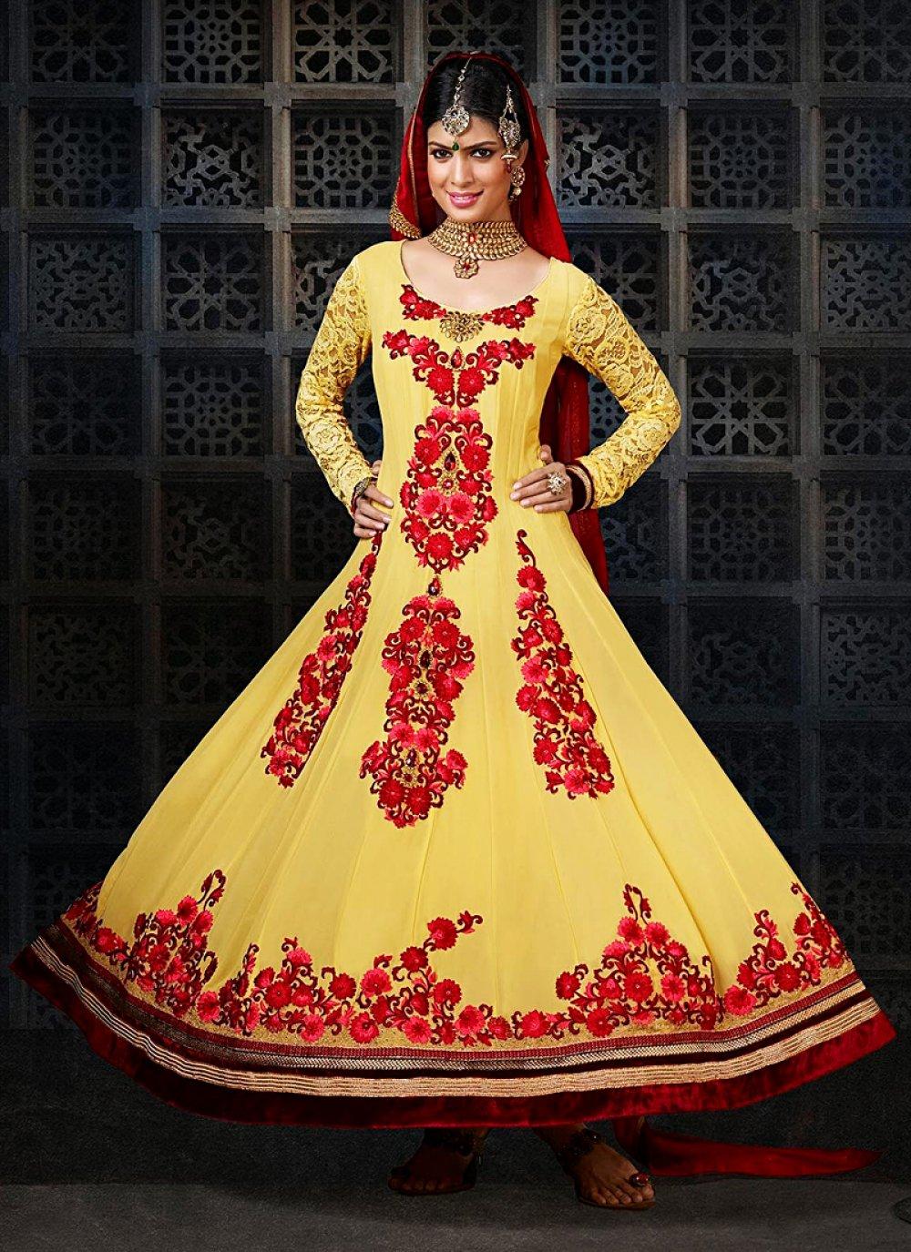 Mustard Resham Work Velvet Anarkali Salwar Suit
