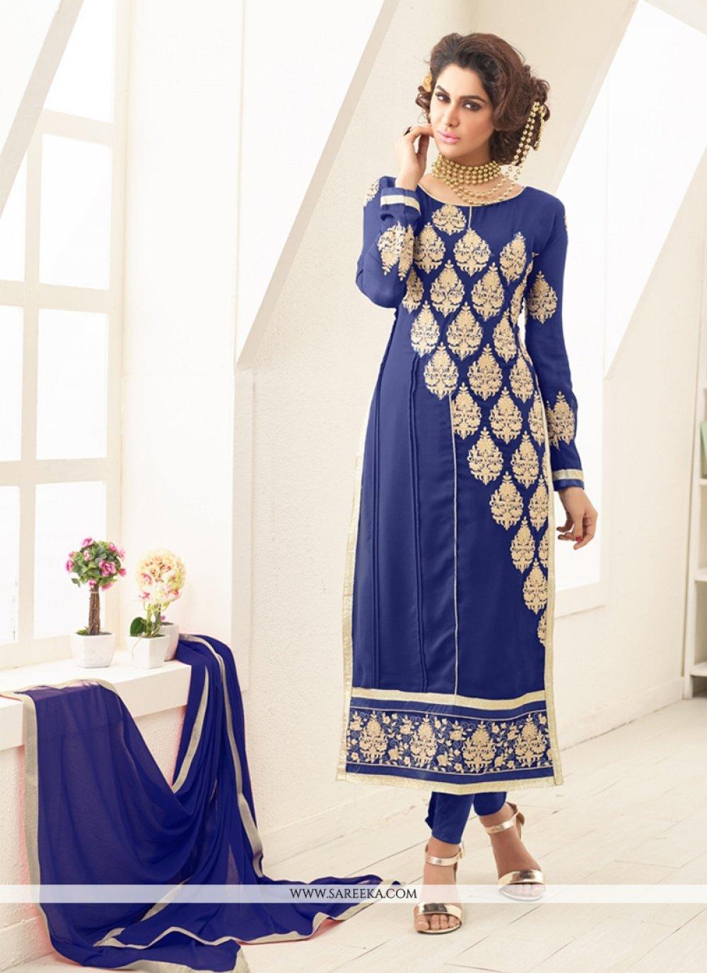 Blue Georgette Designer Straight Salwar Kameez