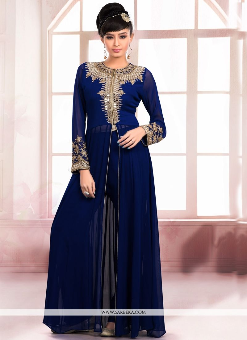 Faux Georgette Navy Blue Embroidered Work Designer Salwar Kameez