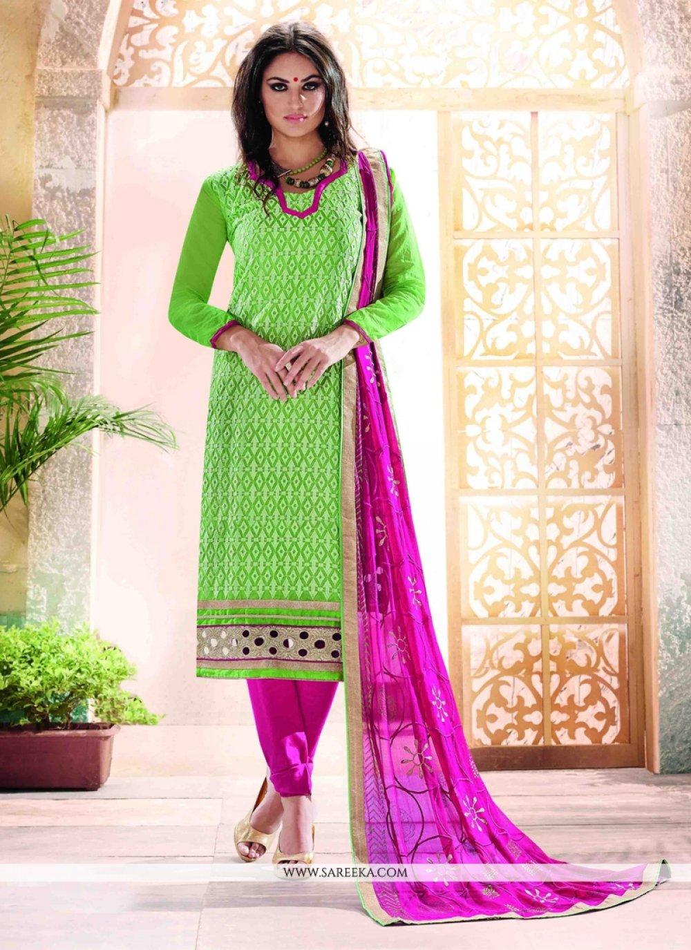 Lace Work Chanderi Churidar Designer Suit