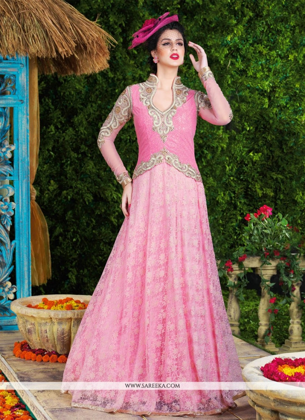 Pink Resham Work Net Floor Length Anarkali Suit