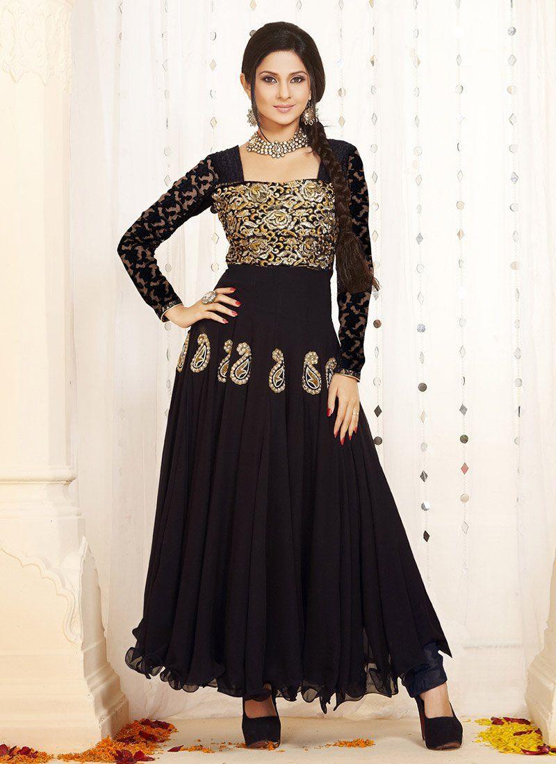 Black Zari Ankle Length Anarkali Suit
