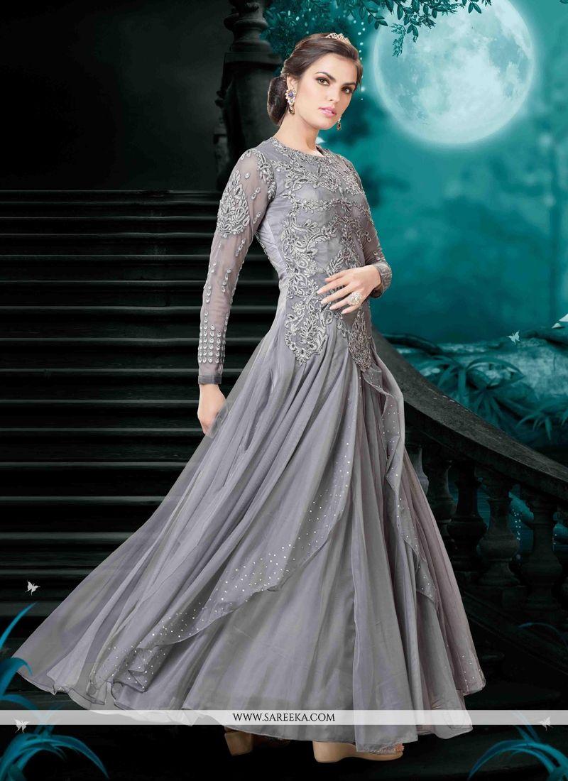 Embroidered Work Grey Ankle Length Anarkali Salwar Suit