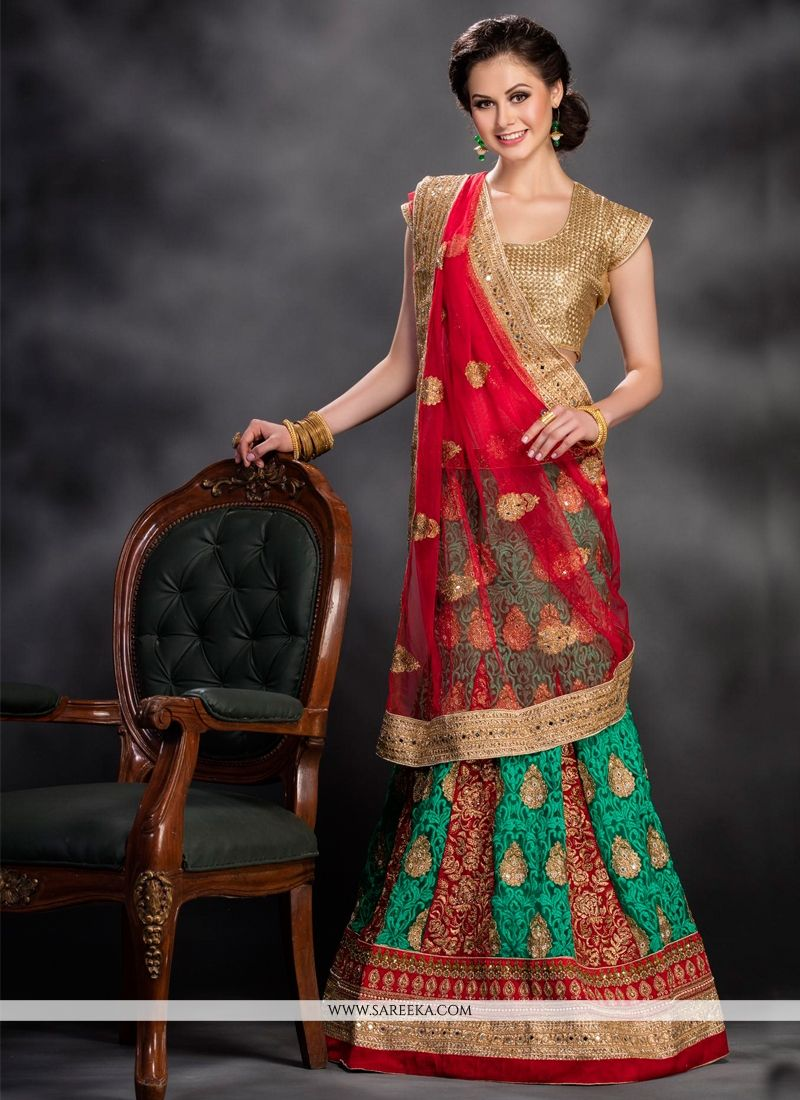 Net Red and Sea Green Embroidered Work A Line Lehenga Choli