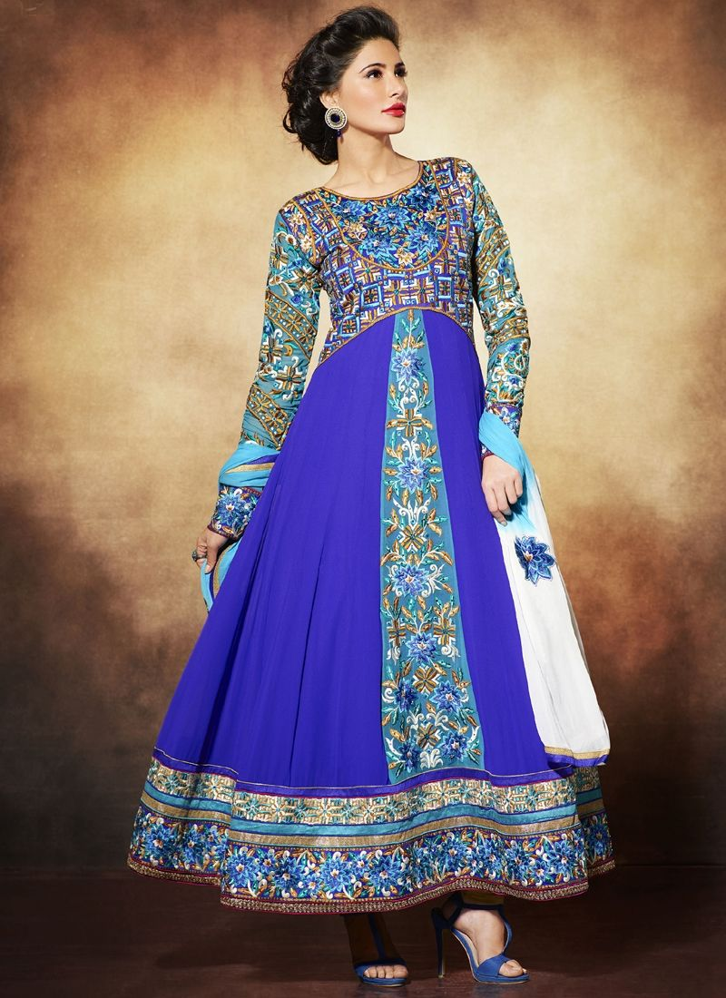 Nargis Fakhri Blue Embroidery Pure Georgette Anarkali Suit