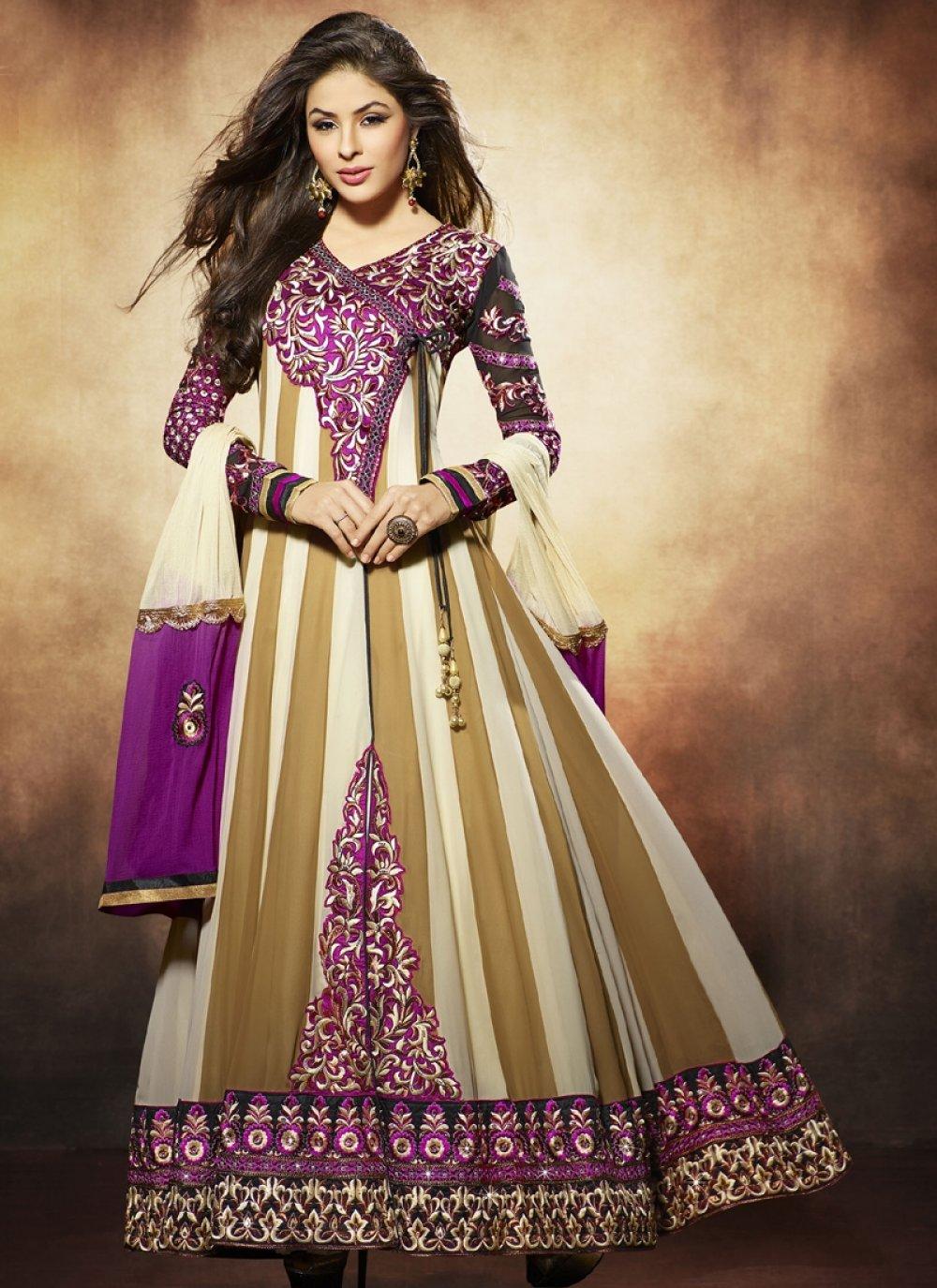 Nargis Fakhri Brown And Purple Pure Georgette Anarkali Suit
