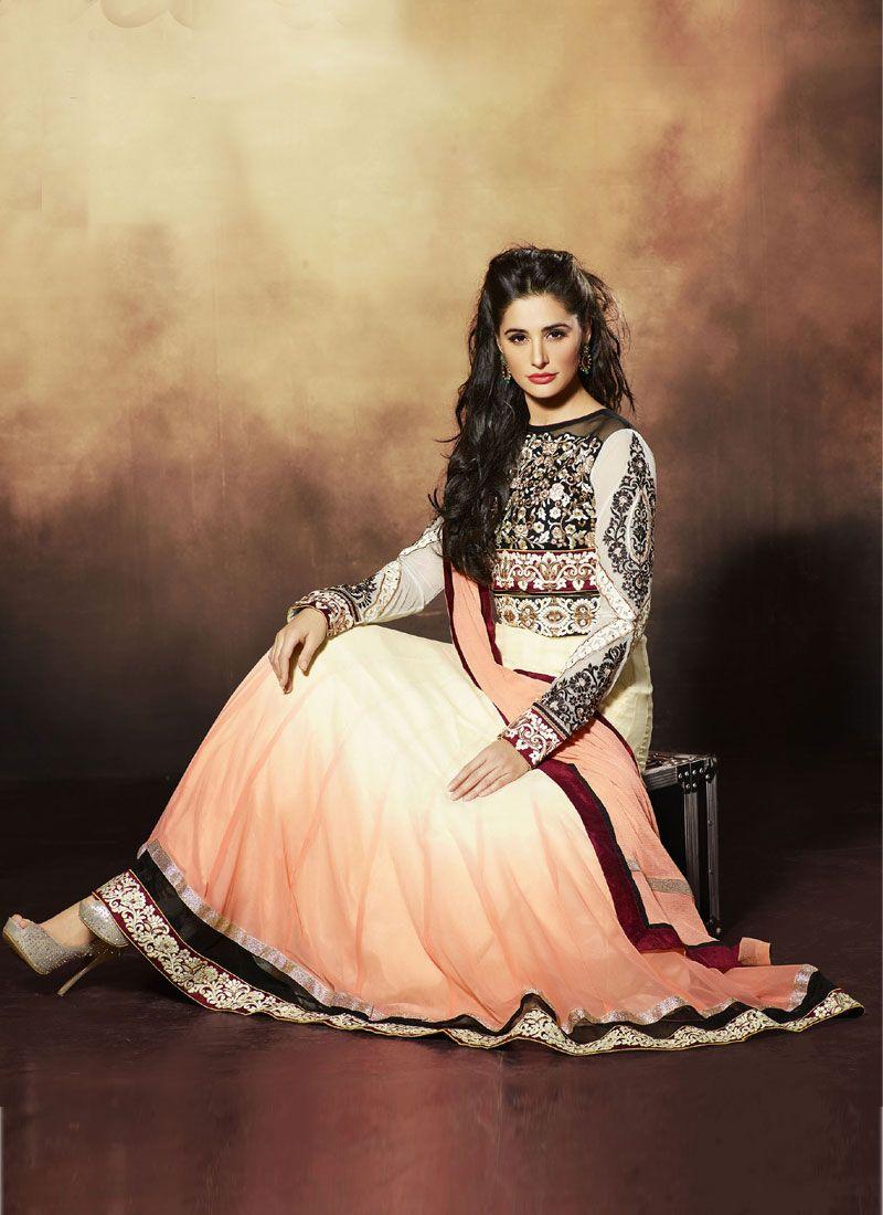 Nargis Fakhri Cream Pure Georgette Anarkali Suit