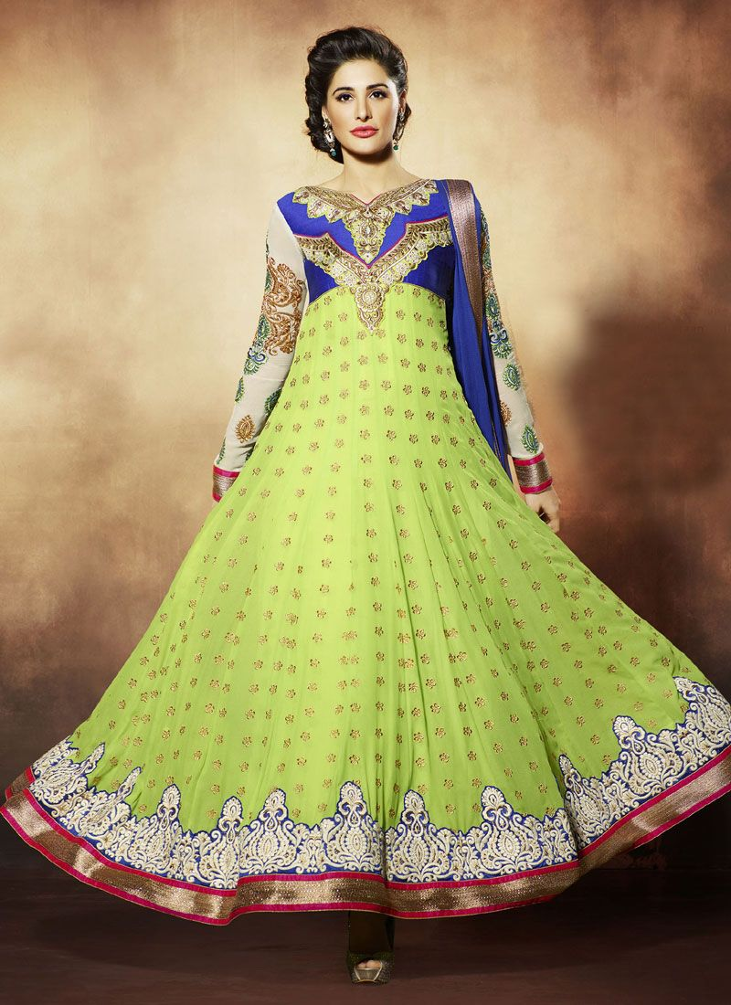 Nargis Fakhri Green Pure Georgette Anarkali Suit