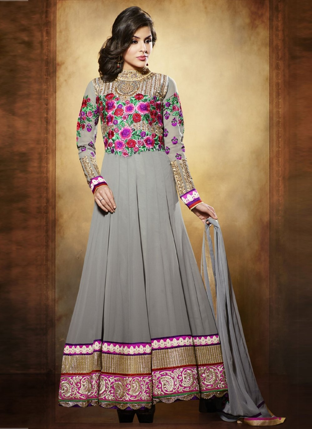 Nargis Fakhri Grey Resham Pure Georgette Anarkali Suit