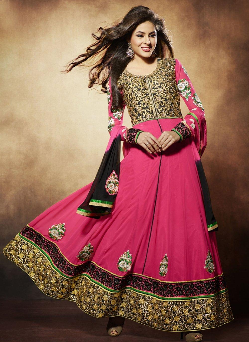 Nargis Fakhri Pink Pure Georgette With Zari Work Anarkali Suit