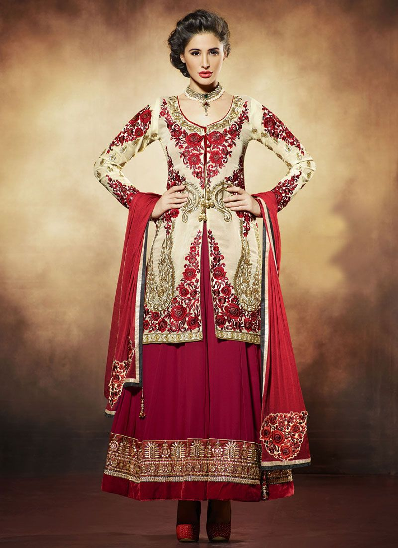 Nargis Fakhri Red Pure Georgette Anarkali Suit