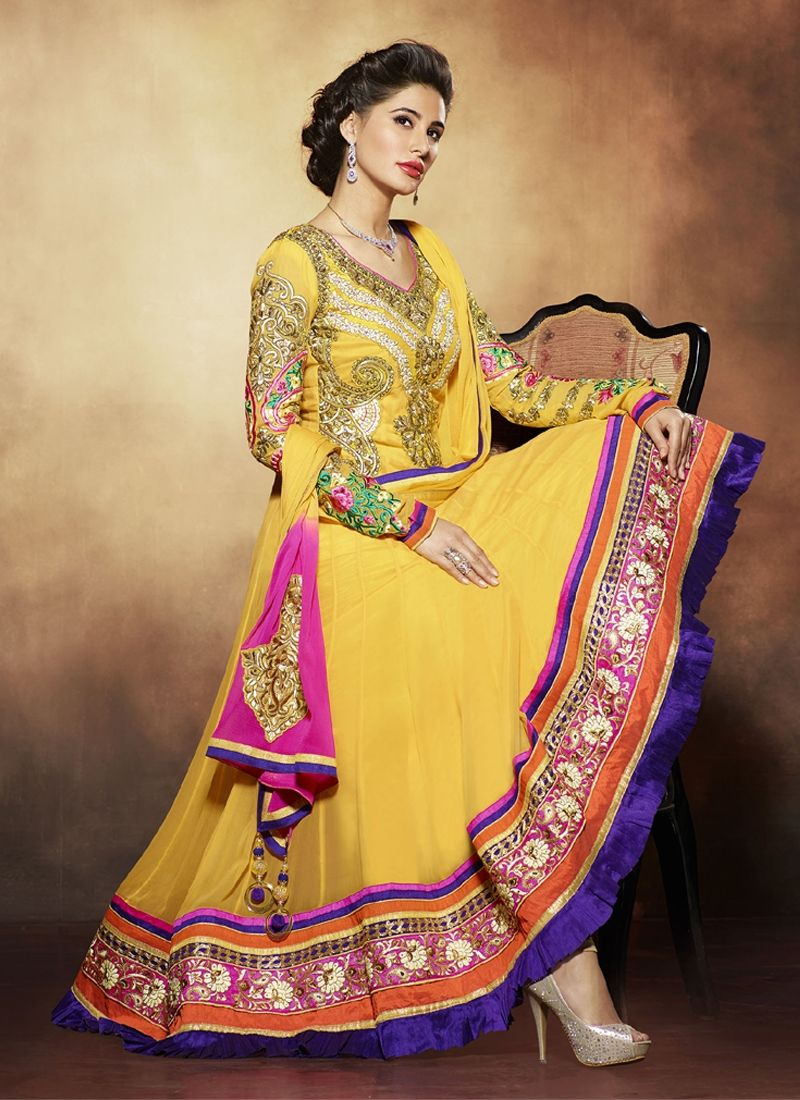 Nargis Fakhri Yellow Embroidery Work Pure Georgette Anarkali Suit