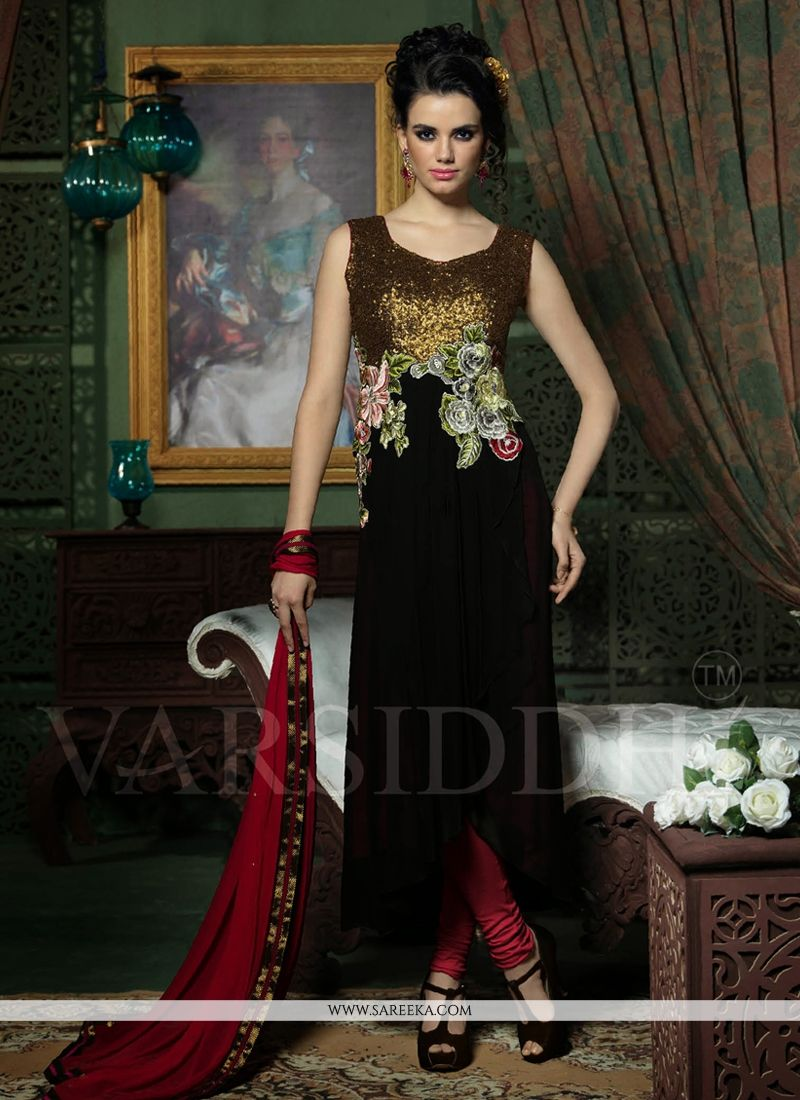 Natural Black Georgette Churidar Salwar Suit