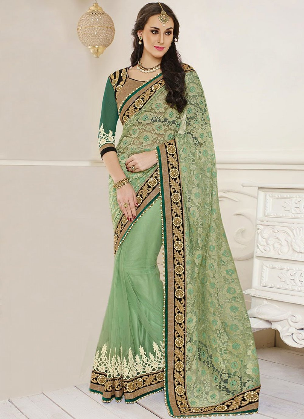 Natural Green Net Jacquard Saree