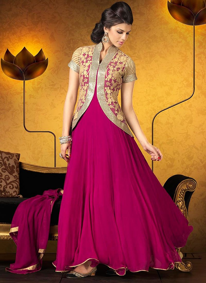 Natural Magenta Embroidery Work Georgette Anarkali Suit