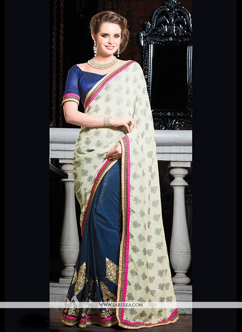 Navy Blue And Cream Viscose Designer Saree