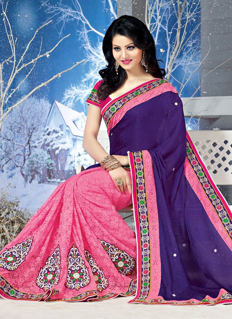 Navy Blue And Dark Pink Embroidery Work Net Jacquard Saree