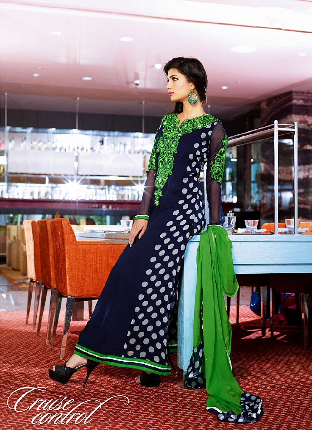 Navy Blue And Green Resham Work Georgette Churidar Suit