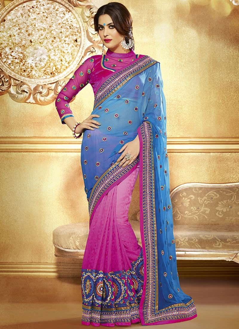 Navy Blue And Magenta Jacquard Georgette Half And Half Saree