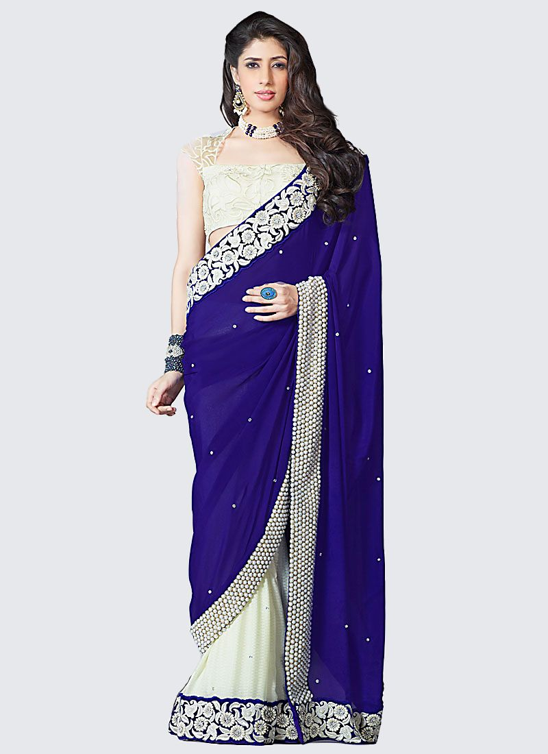 Navy Blue And Off White Faux Georgette Saree