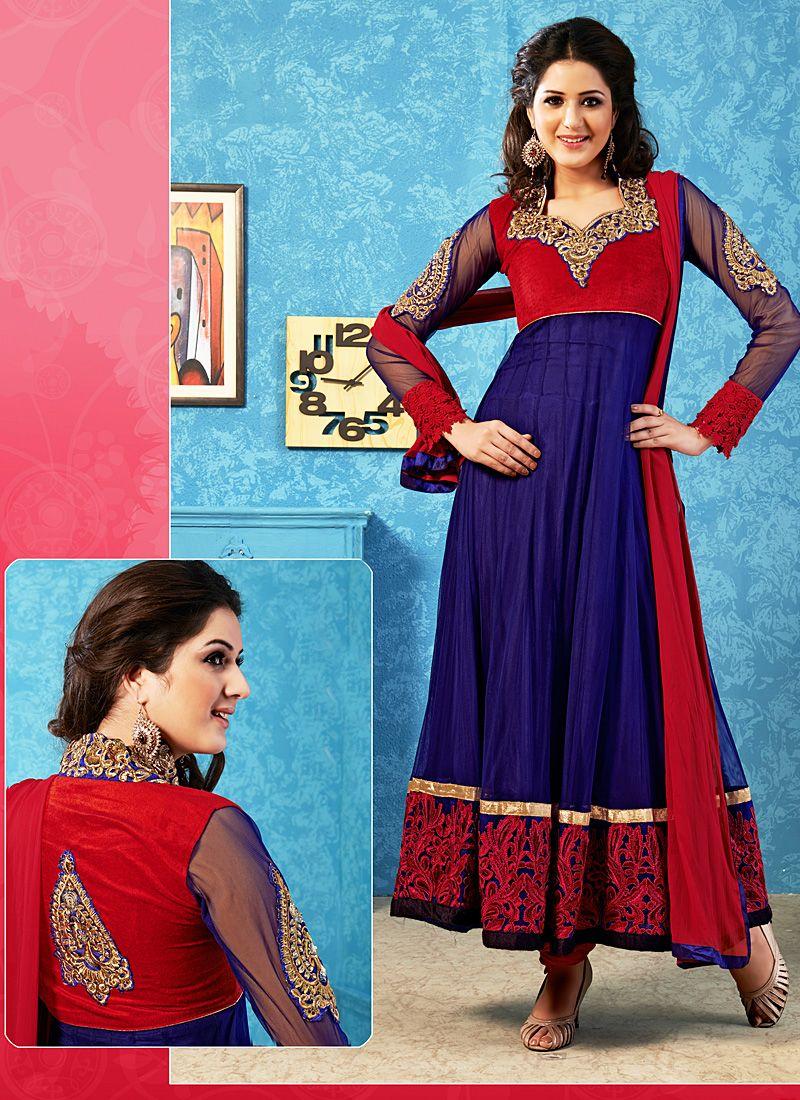 Navy Blue And Red Patch Border Work Anarkali Salwar Suit