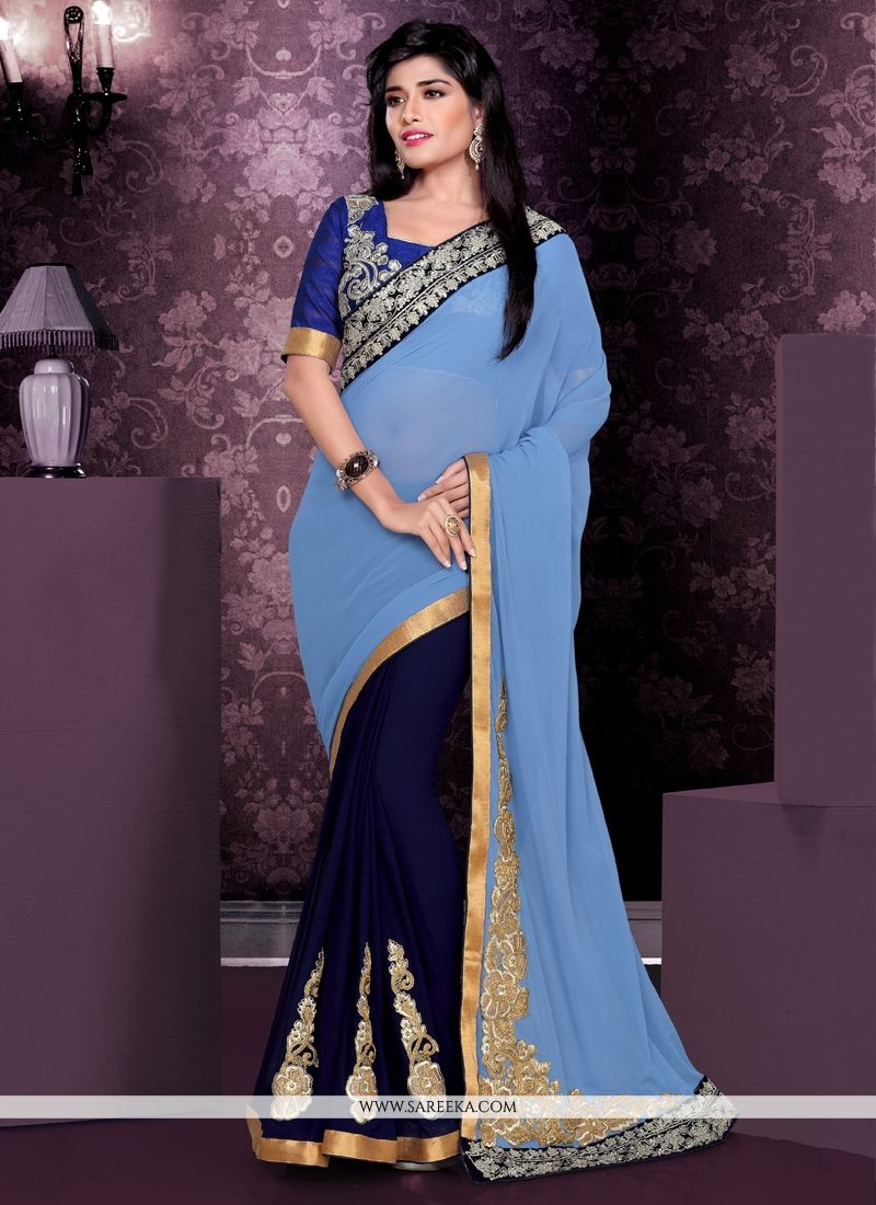 Navy Blue Bamber Georgette Party Wear Saree