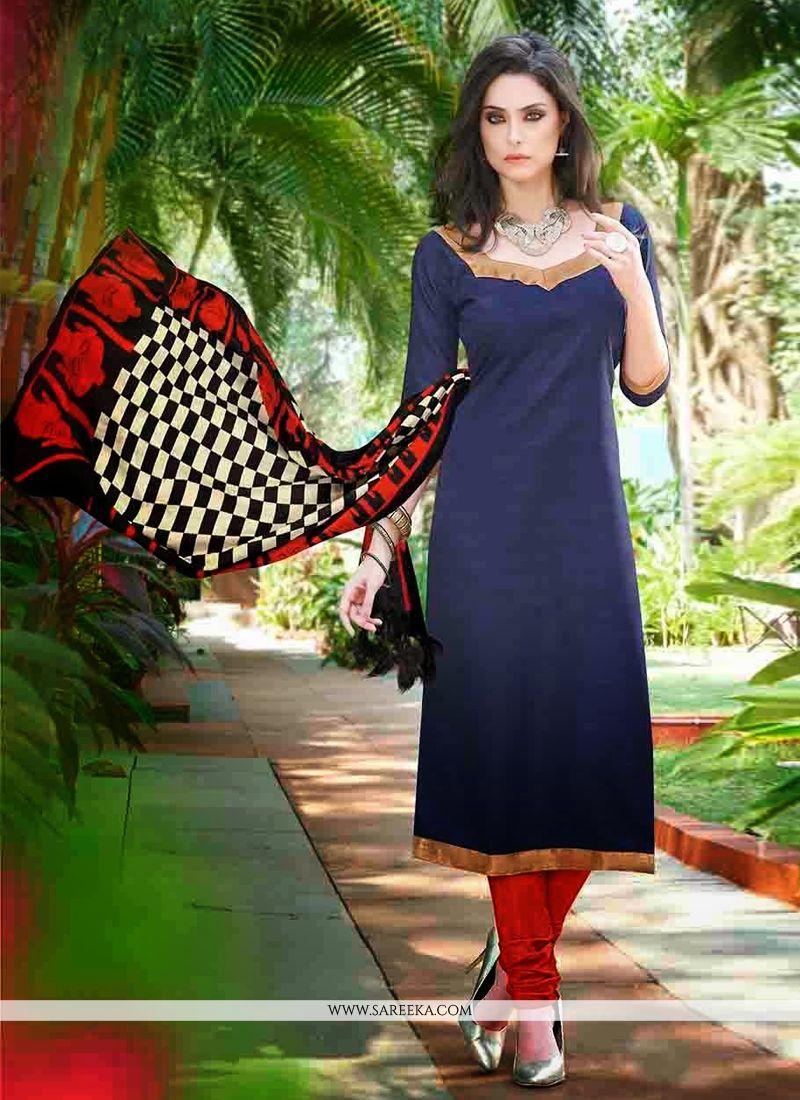 Navy Blue Bhagalpuri Silk Churidar Salwar Kameez