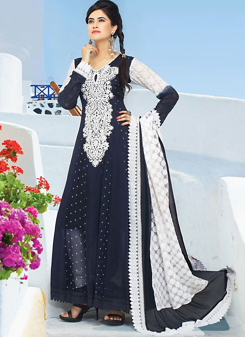 Navy Blue Cotton Churidar Suit