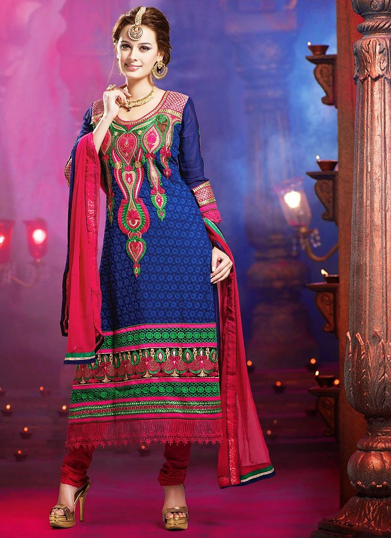 Navy Blue Embroidery Work Georgette Churidar Suit