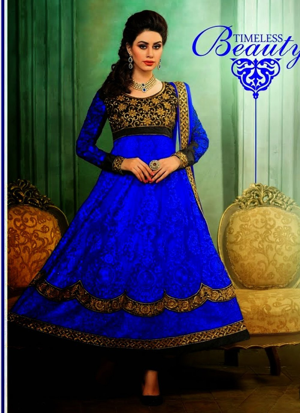 Navy Blue Net Anarkali Suit