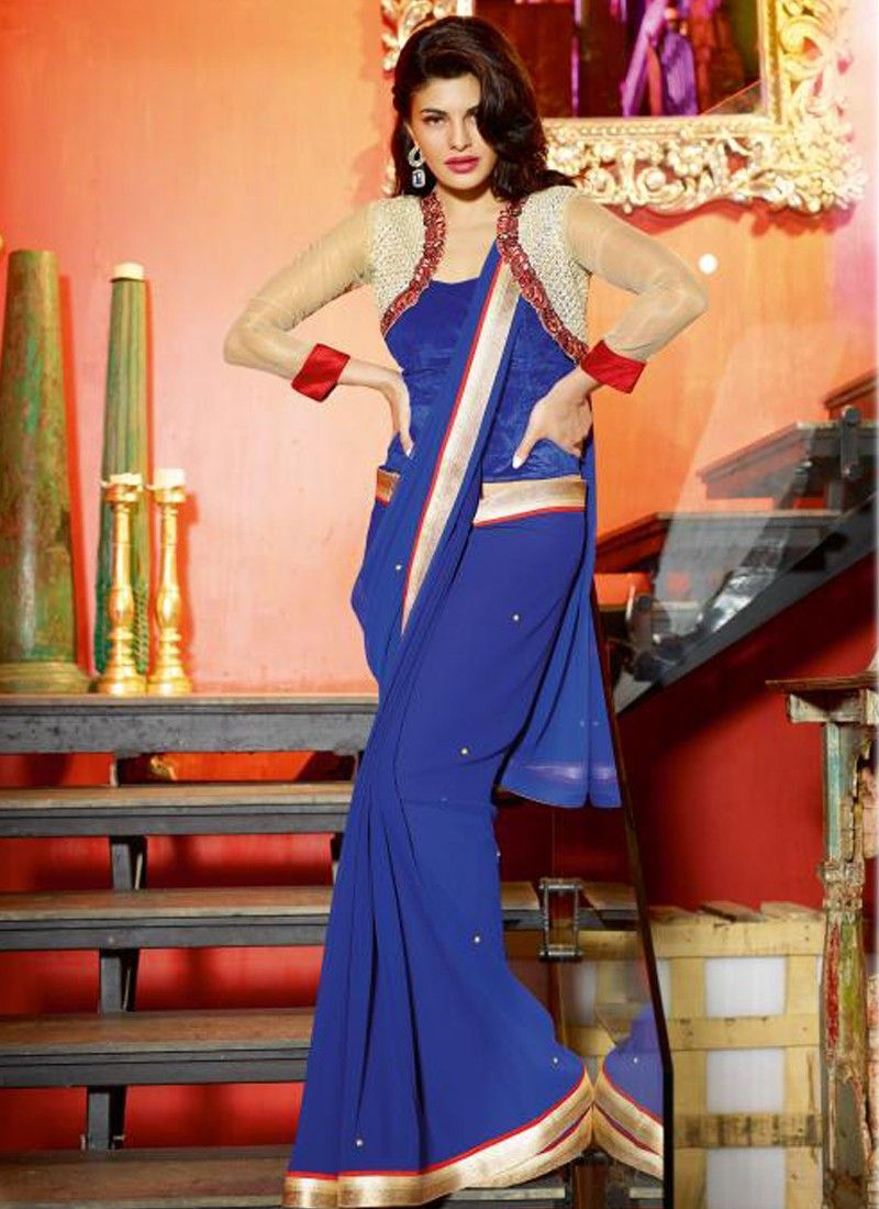 Navy Blue Patch Border Party Wear Saree