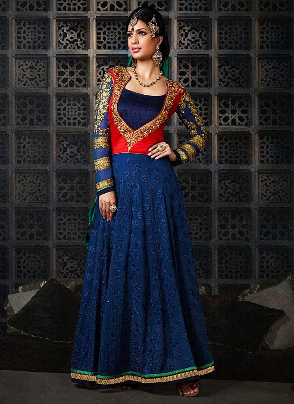 Navy Blue Pure Georgette Velvet Anarkali Suit