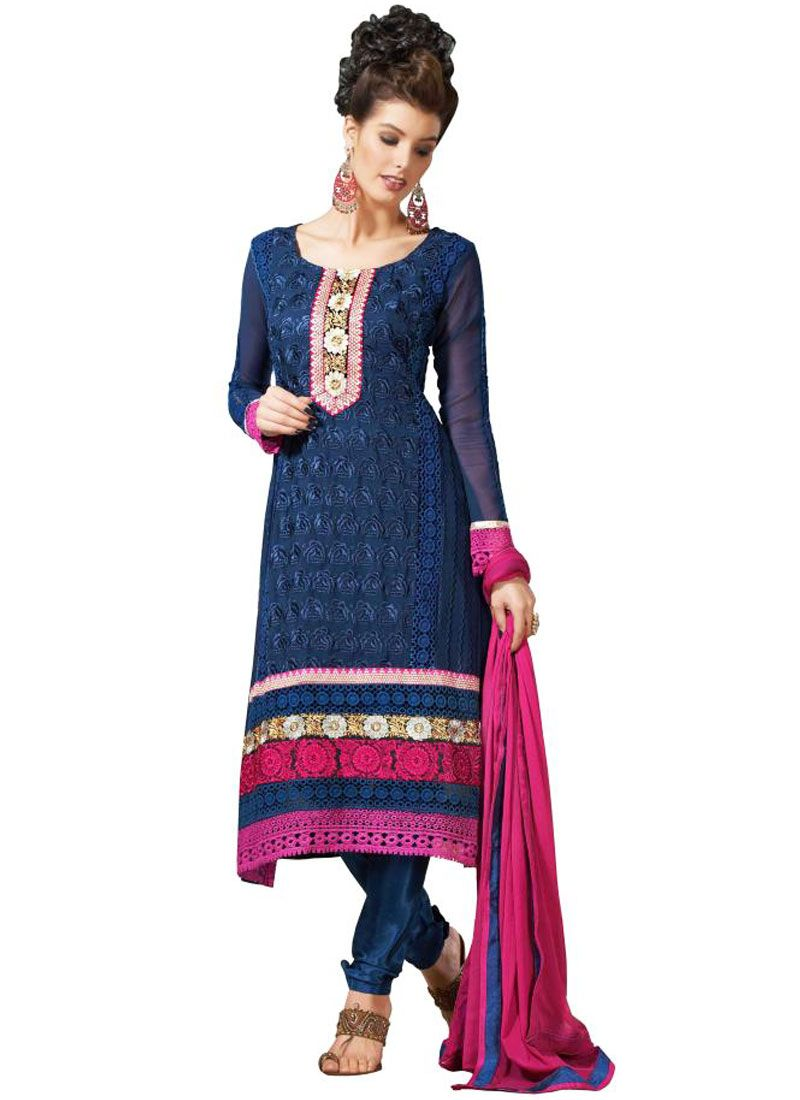 Navy Blue Resham Border Work Georgette Churidar Salwar Suit