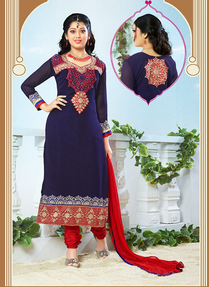 Navy Blue Resham Work Churidar Salwar Kameez